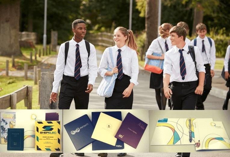 Branded school folders, fully customisable