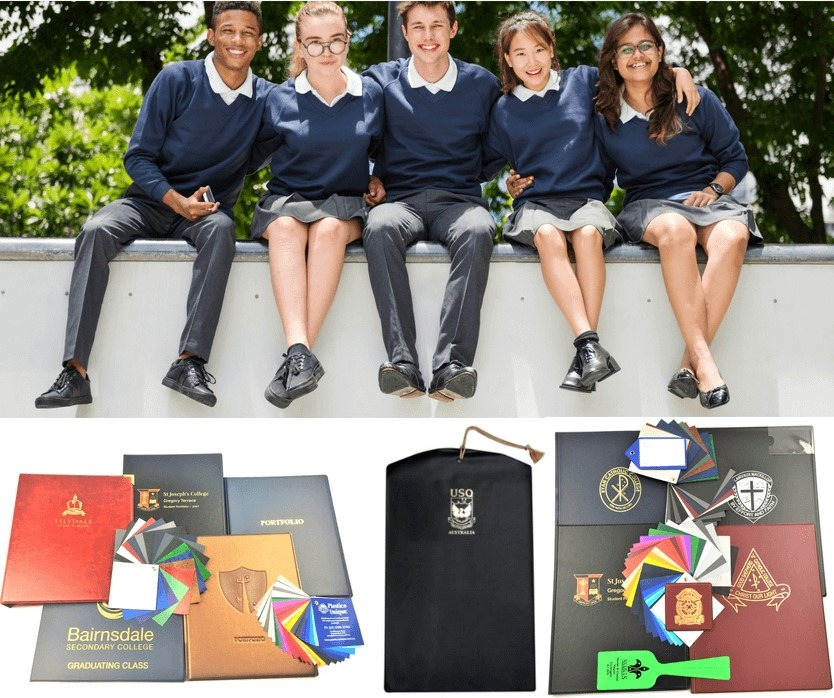 Examples of custom branded school supplies made in Australia by Plastics Unique