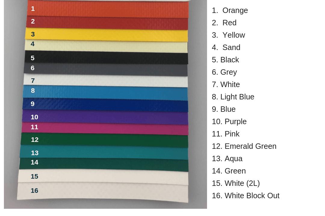 Tarpaulin Colour Range - Plastics Unique